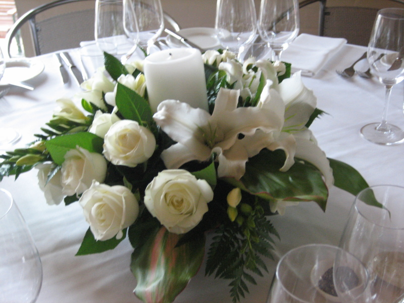White Table Arrangement with candle